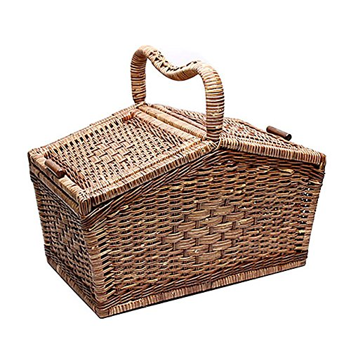 HARRA HOME Handmade Deluxe Rattan Wicker Picnic Basket Hamper