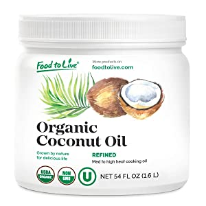 Organic Refined Coconut Oil, 54 fl oz — Non-GMO, Kosher, Vegan, Bulk, Great for Hair, Skin and Cooking