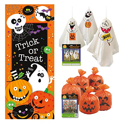 Outdoor Halloween Decor Set - Door Poster, Pumpkin Leaf Bags, Hanging Ghost Decorations