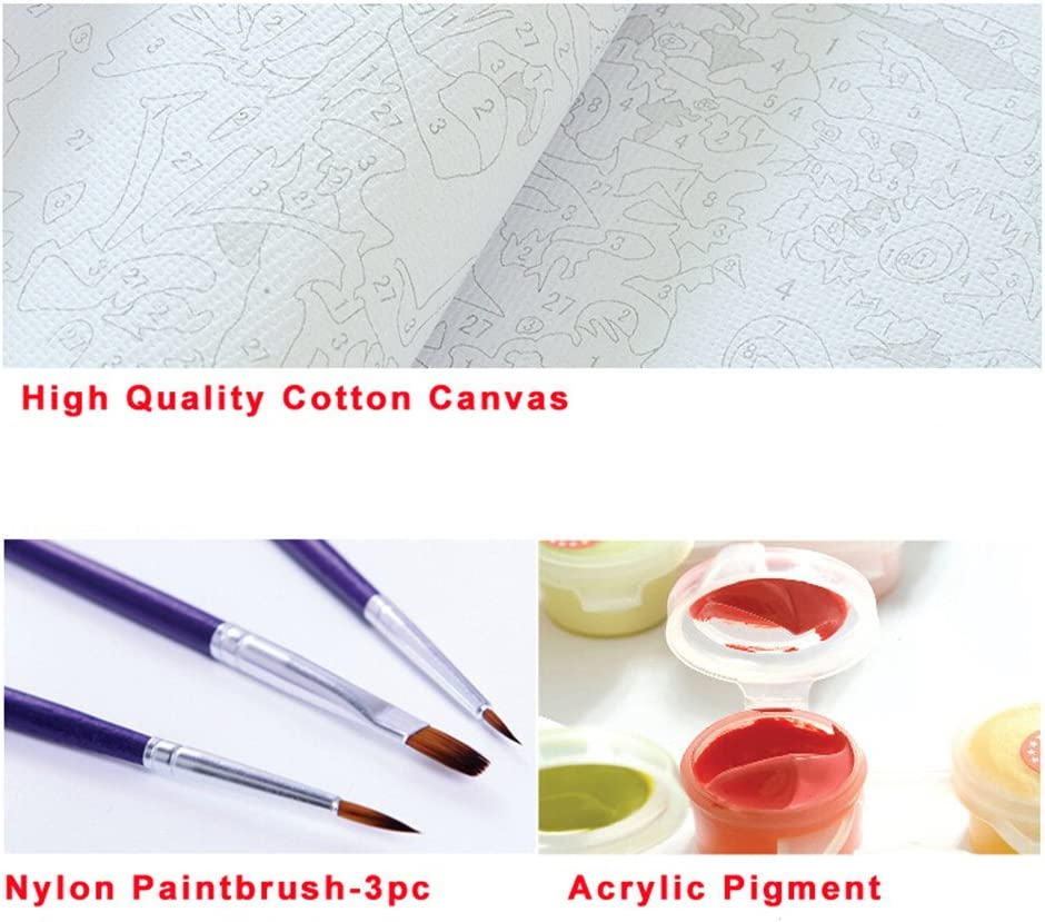 Without Frame, XRS195 New Arrival DIY Oil Painting by Numbers Kit Theme PBN Kit for Adults Girls Kids White Christmas Decor Decorations Gifts