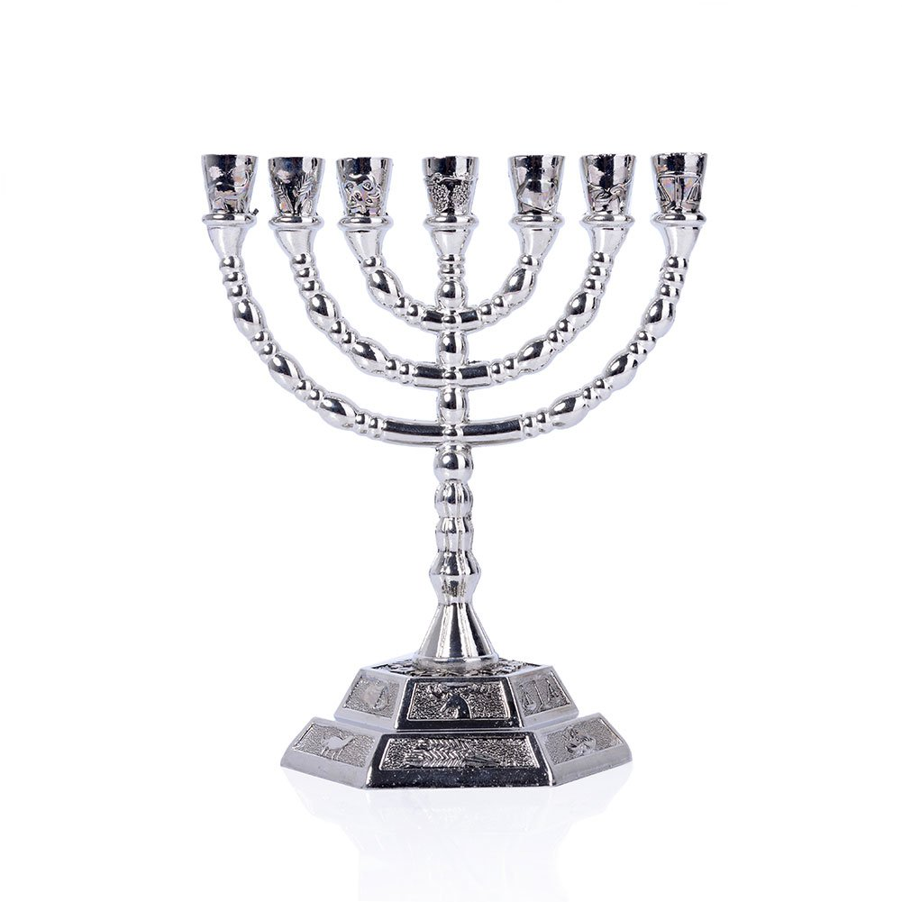12 Tribes of Israel Menorah, Jerusalem Temple 7 Branch Jewish Candle Holder (5 Inches, Coppery) BRTAGG
