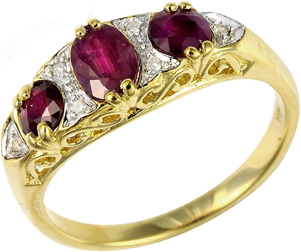 Bague - 181R0731-21 - Anillo de mujer de oro amarillo (9k) con diamantes y rubís