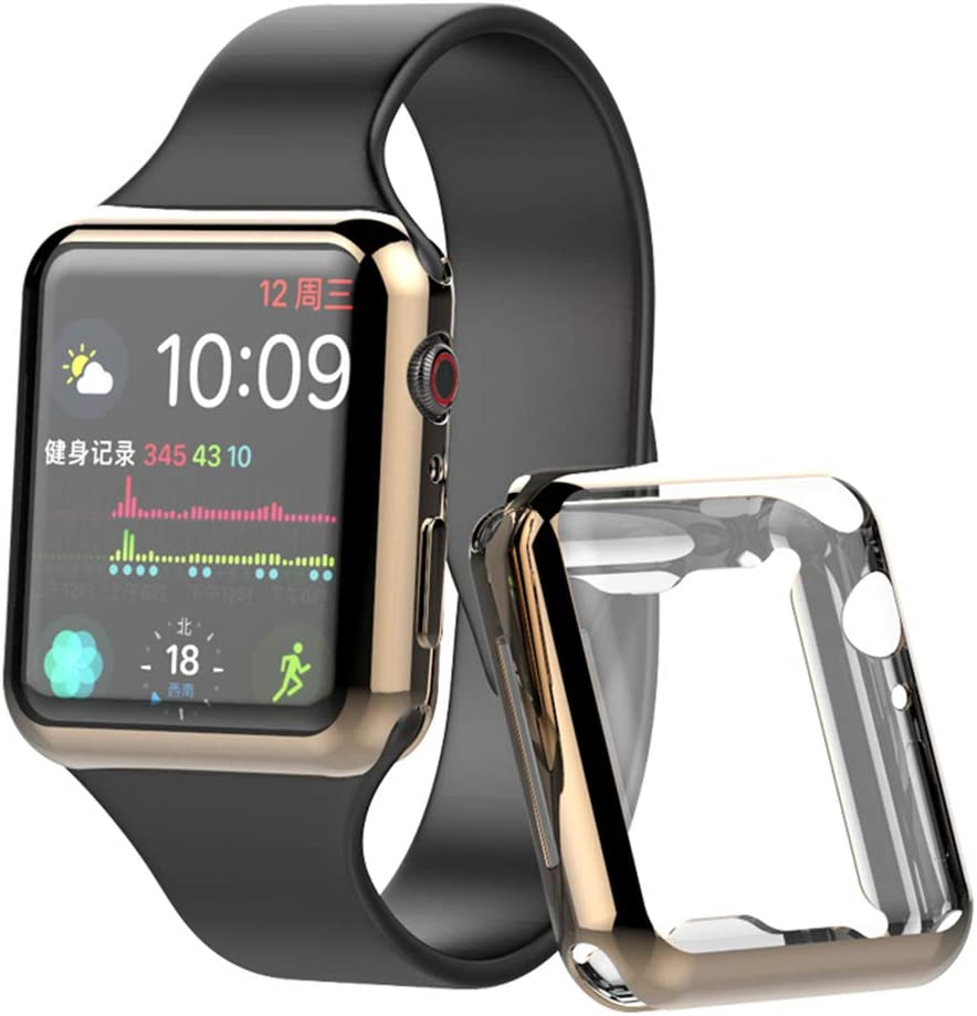 Case for Apple Watch Series 5 / Series 4 Scree Protector 44mm Ultra-Thin Cover for Apple iwatch Screen Protector 4 Color Edition (Gold, 44mm)