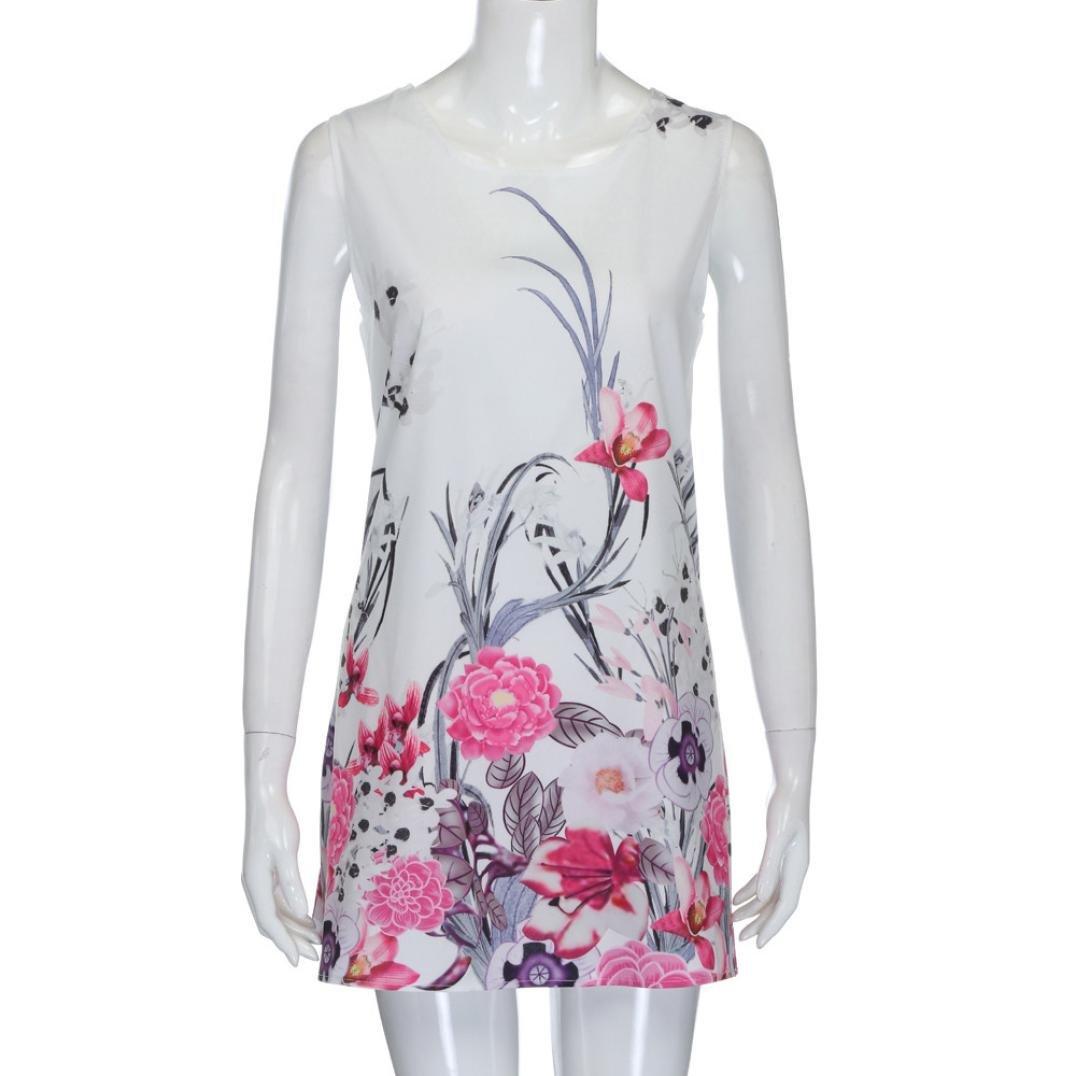 ASTV Women Summer Boho Sleeveless Floral Printed Mini Dress
