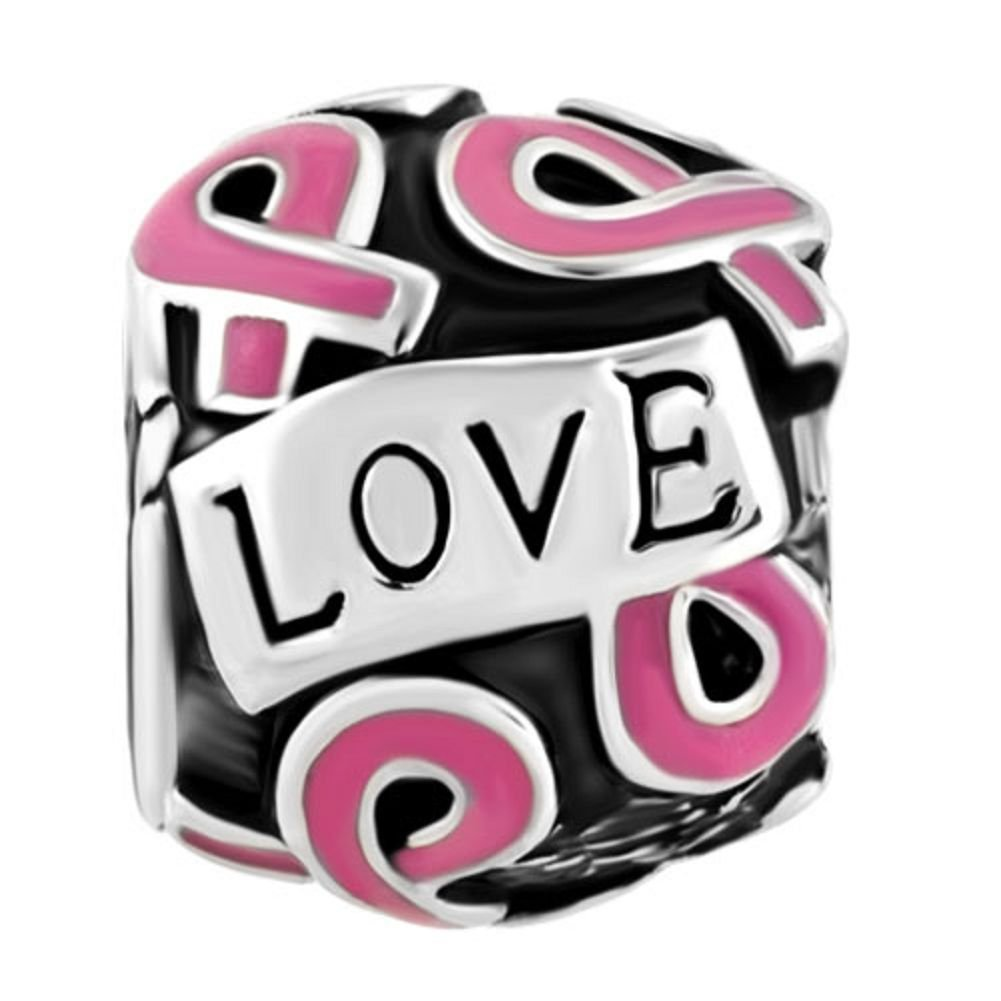 Uniqueen Pink Ribbon Breast Cancer Awareness Charm Beads fit Charms Bracelet