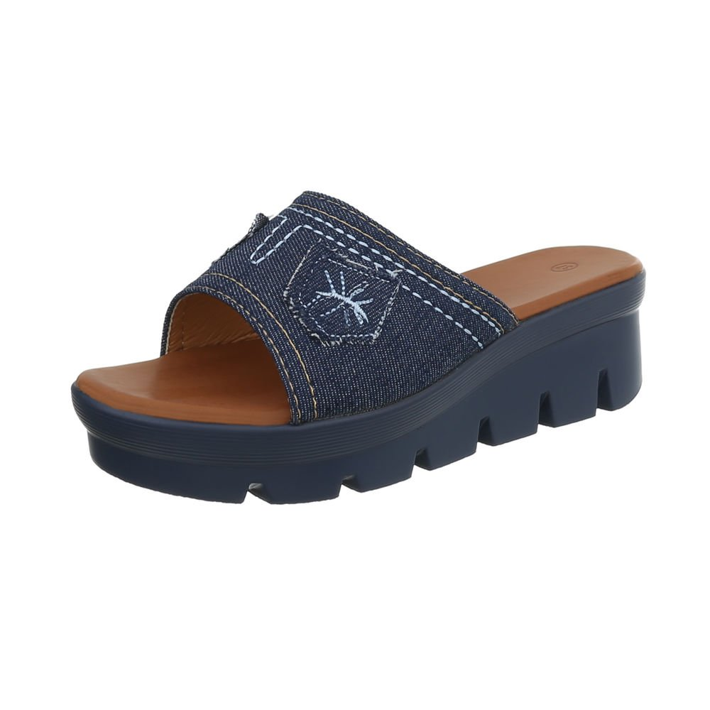 Ital-Design Damenschuhe Sandalen  Sandaletten Pantoletten  38 EU|Dunkelblau S17125dk-