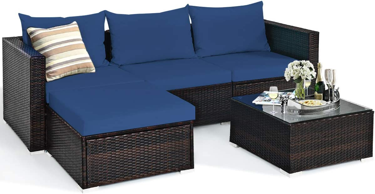 Tangkula 5 Piece Outdoor Patio Furniture Set, Sturdy Frame and Weight Capacity Up to 360 Pounds, Wicker Sectional Sofa Set with Glass Top Coffee Table, Porch Garden Poolside Furniture for 4