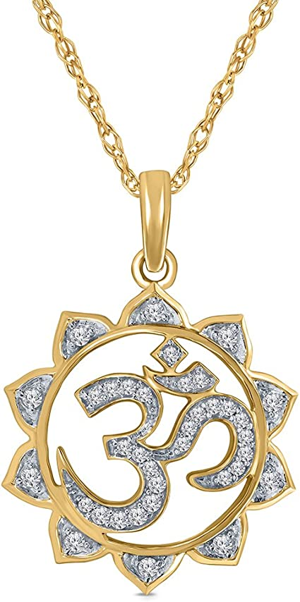 1/5 cttw Round White Natural Diamond 10K Yellow Gold OM Yoga Pendant
