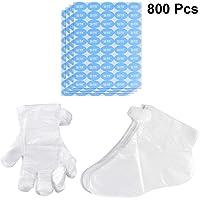 Lurrose 800 unids Parafina Forros de baño Guantes de plástico Desechables Cubierta de pie de pedicura para Manos y pies (200 Guantes + 200 Cubiertas de pie + 400 Pegatinas)