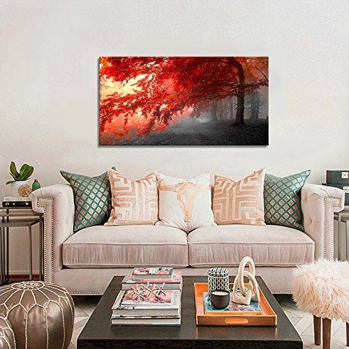 wall art Stretched Framed Ready Hang Flower Landscape Red Tree Flower Modern Painting Canvas Living Room Bedroom Office Wall Art Home Decoration by youkiswall art (Image #4)