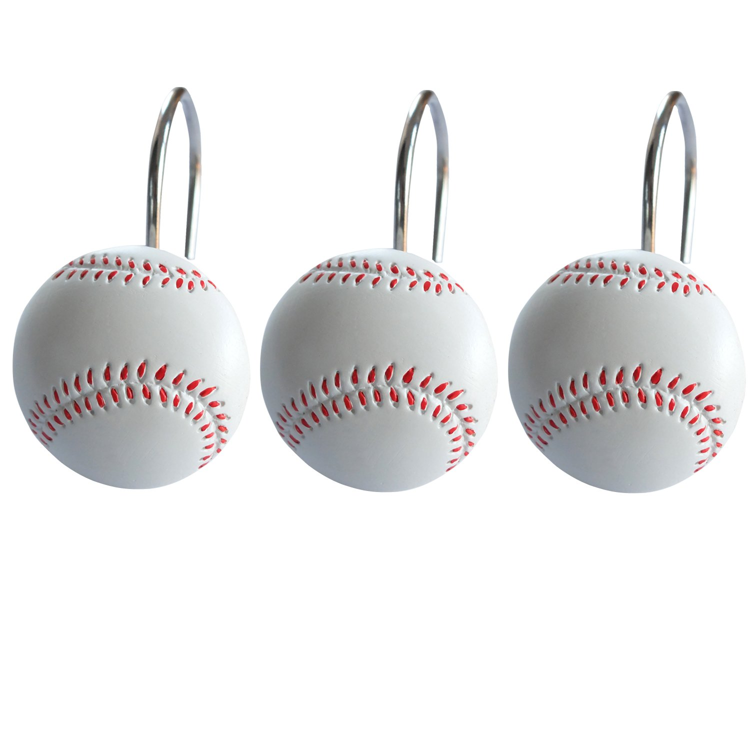 Doupoo Home Decorative Baseball Shower Curtain Hooks Set Of 12 StarsHouse