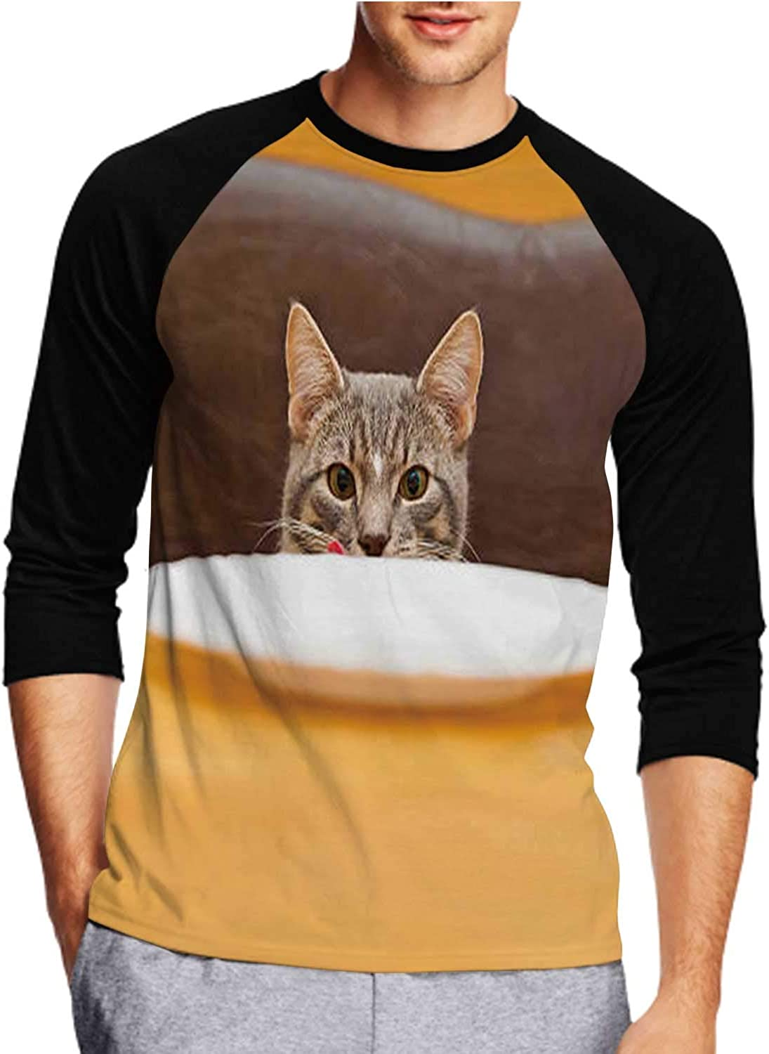 C COABALLA Black and White Mix-Breed Puppy Looks at Camera tilts - Netherlands,Men's Front Printed Middle Sleeve T-Shirt