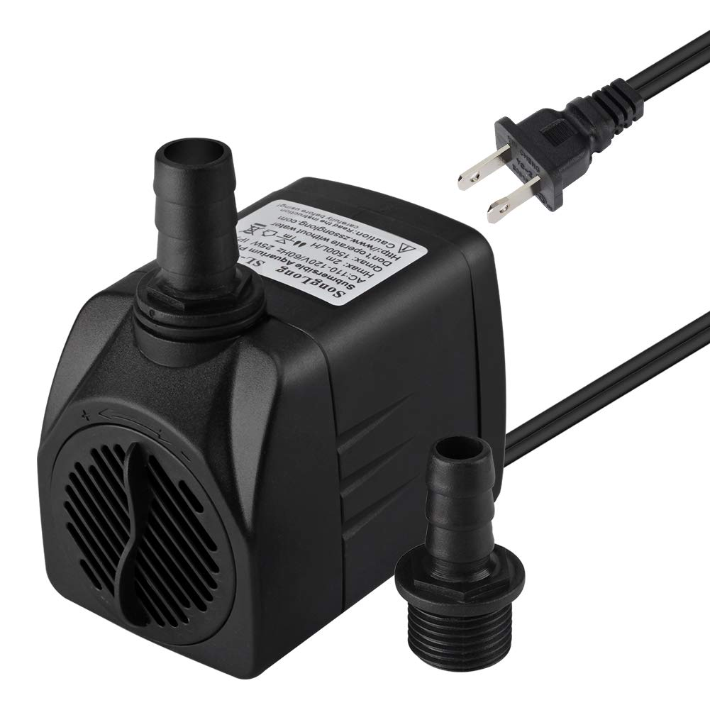 MAXZONE 400 GPH (1500L/H, 25W) Submersible Water Pump- Ultra Quiet For Pond, Aquarium, Fish Tank Fountain, Powerful Water Pump with 6ft (1.8m) Power Cord