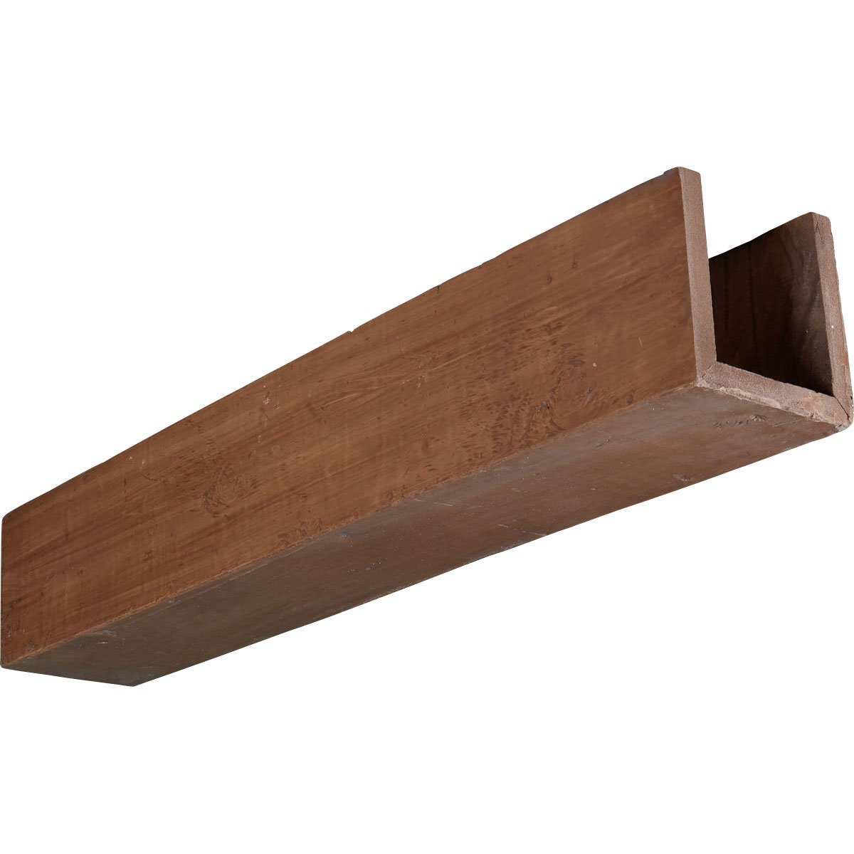 Ekena Millwork BMKP3C0080X040X144PE 8''W x 4''H x 12'L 3-Sided (U-beam) Knotty Pine Endurathane Faux Wood Ceiling Beam, Pecan