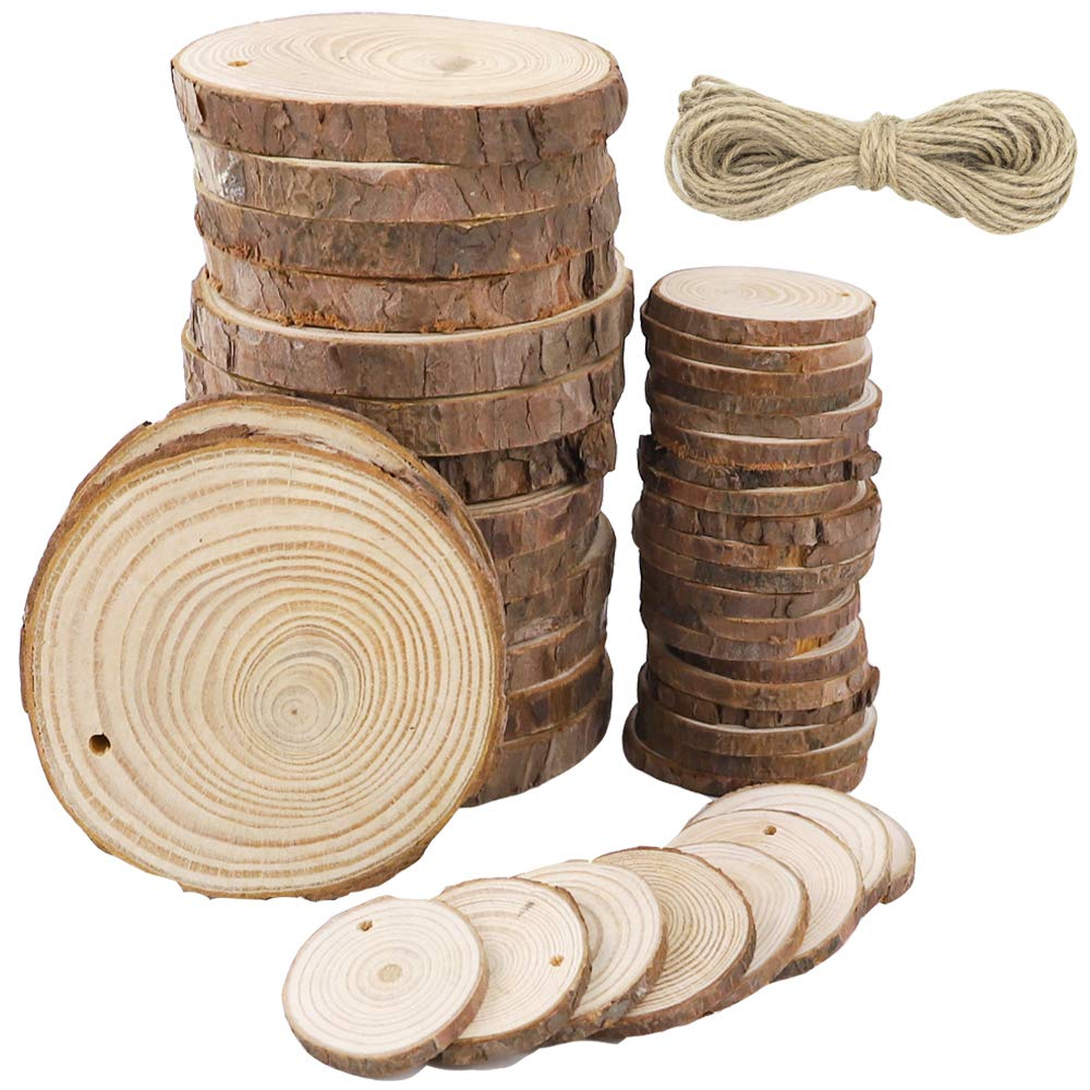 CEWOR 15pcs 2.4-2.8inch and 15pcs 3.1-3.5inch Predrilled Wood Slices and 33ft Natural Jute Twine