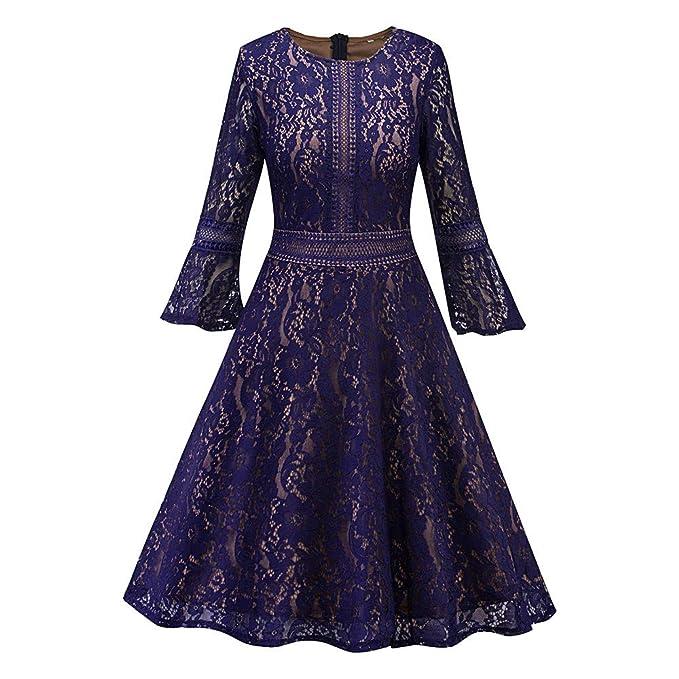 Lenfesh Elegantes Vestidos de Noche Flor Encaje Elegante Mujer Rockabilly Elegante Mujer Fiesta Boda Vintage Vestido
