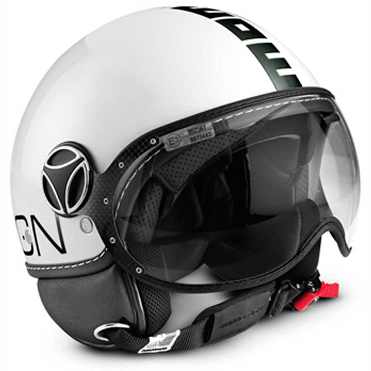 Momo FGTR Classic Open Face Motorcycle Helmet in White Glossy with Logo Black