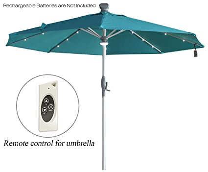 Mefo Garden Electric Automatic Patio Umbrella With LED Lights 250gsm 9.8Ft  Aluminum, Turquoise