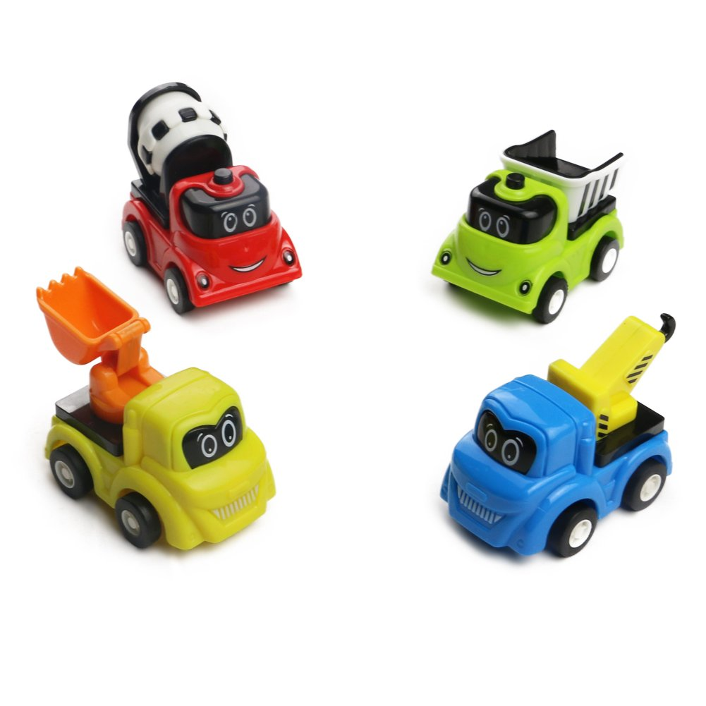 Mini Auto Giocattolo Macchine con Frizione Cartone Giochi Costruzione Set Veicolo Gioco per Bambini 3 Anni, 4 Pezzi