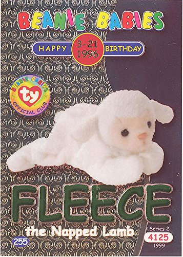 TY Beanie Babies BBOC Card - Series 2 Birthday (GREEN) - FLEECE the Napped - Beanie Fleece Babies Ty