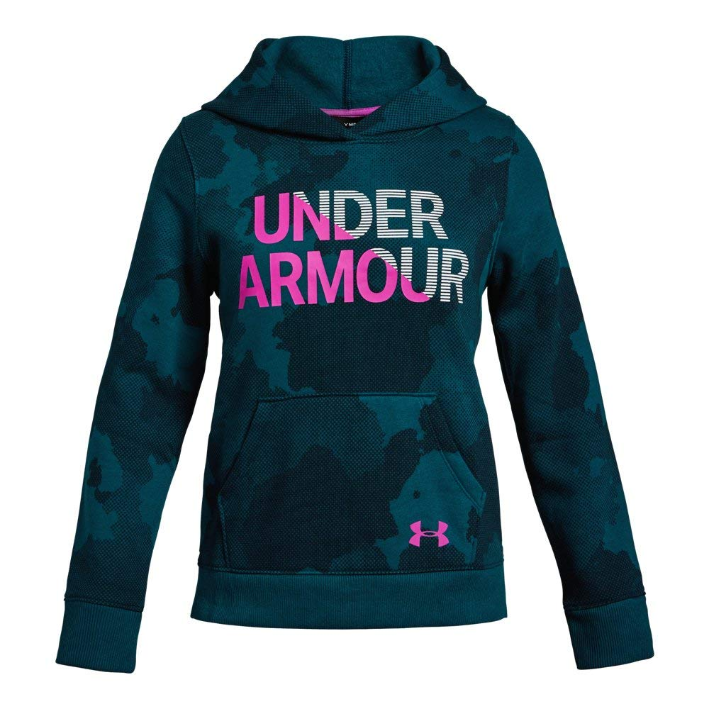 Under Armour Girls Rival Hoodie, Techno Teal (490)/Fluo Fuchsia, Small by Under Armour