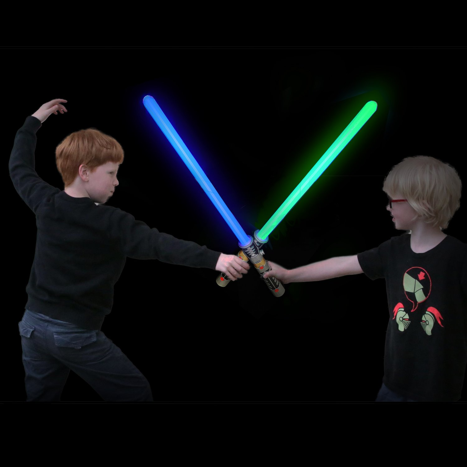 Laser Sword's for Kids (2 Pack) - Double Bladed Light Saber Toy with Sounds – Blue/Green Colors - 28'' inch – Perfect for Star Wars Themed Party – 6 AAA Batteries Included (replaceable)