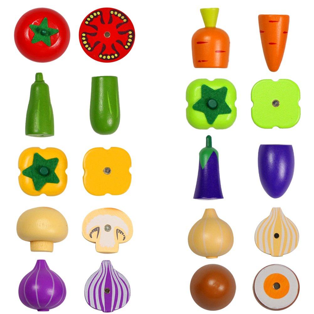 10 L/égumes Fruits et L/égumes Jouets /à D/écouper Bois Jeu Magn/étique Enfant Jeux Imitation Cuisine Enfant 3 4 5 6 7 Ans