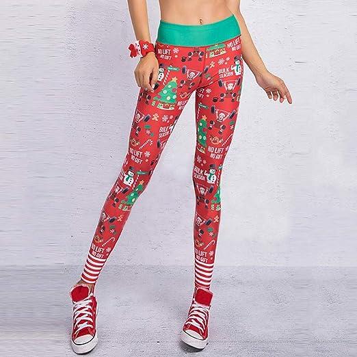 SHOBDW Pantalones Deportivos Mujeres ÁRbol De Navidad Rojo ...