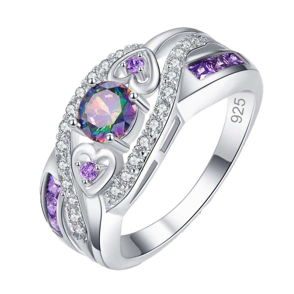 Ferusshomic Multicolor /& Purple White CZ Silver Color Ring for Women Gift Size 6 7 8 9 10 11