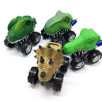 KOBWA - Juego de 4 Piezas de Juguetes de Dinosaurio para Coche con Rueda de neumático Grande, Monstruo y vehículo