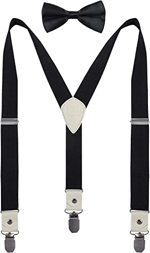 PZLE Mens Boys Suspenders and Bow Tie Set Adjustable Y Back