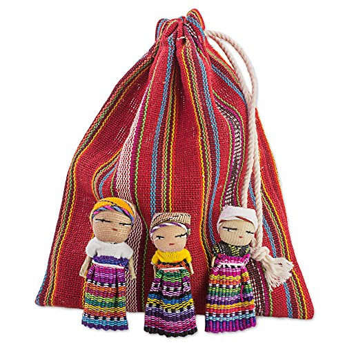 - NOVICA Decorative Colorful Miniature Collectible Doll Cotton Figurines, Traditional Worry Dolls from Guatemala, 'The Worry Doll Gang' (Set of 12)