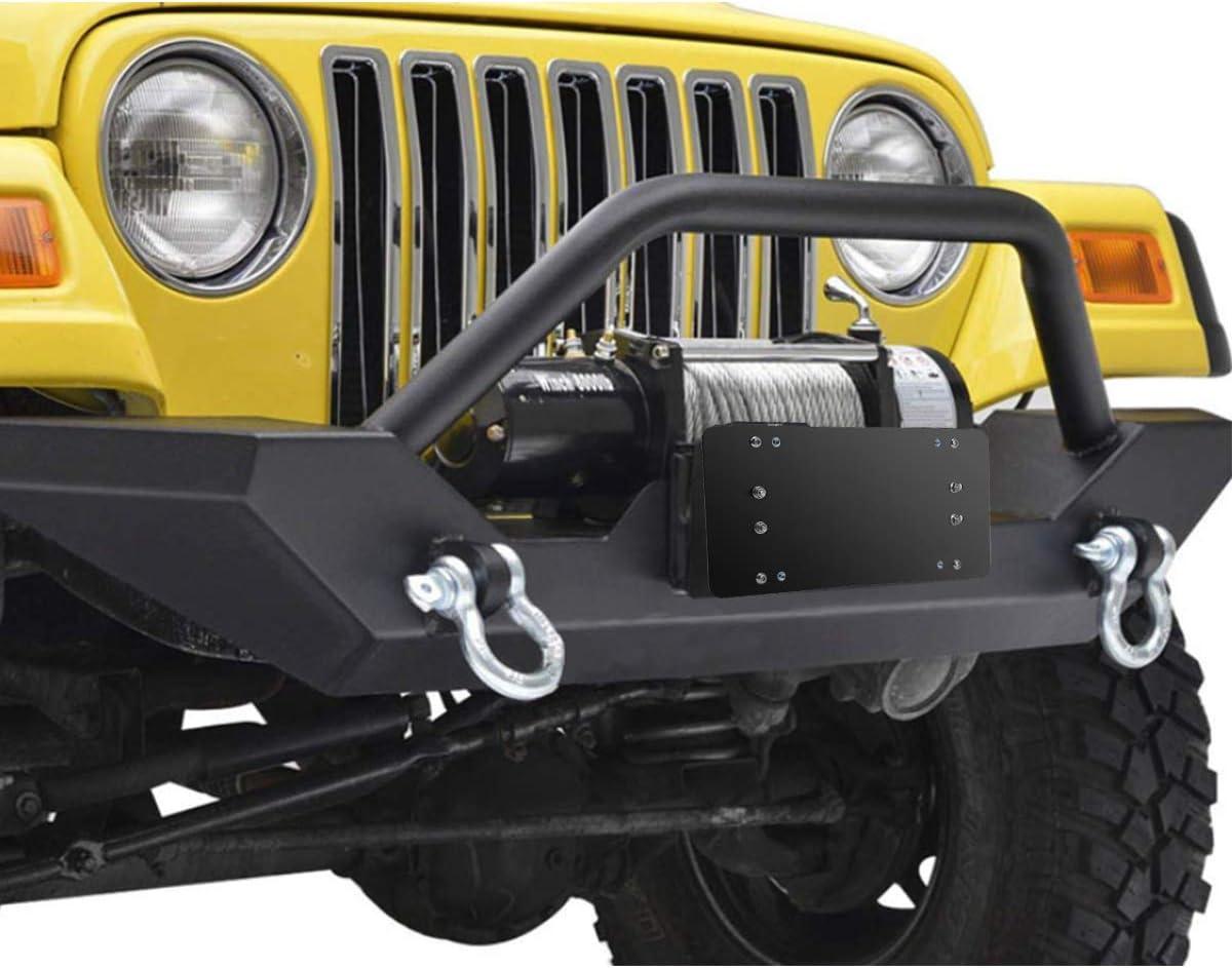 Solid Steel FLIP-UP Winch Roller Fairlead License Plate Mount Bracket Holder