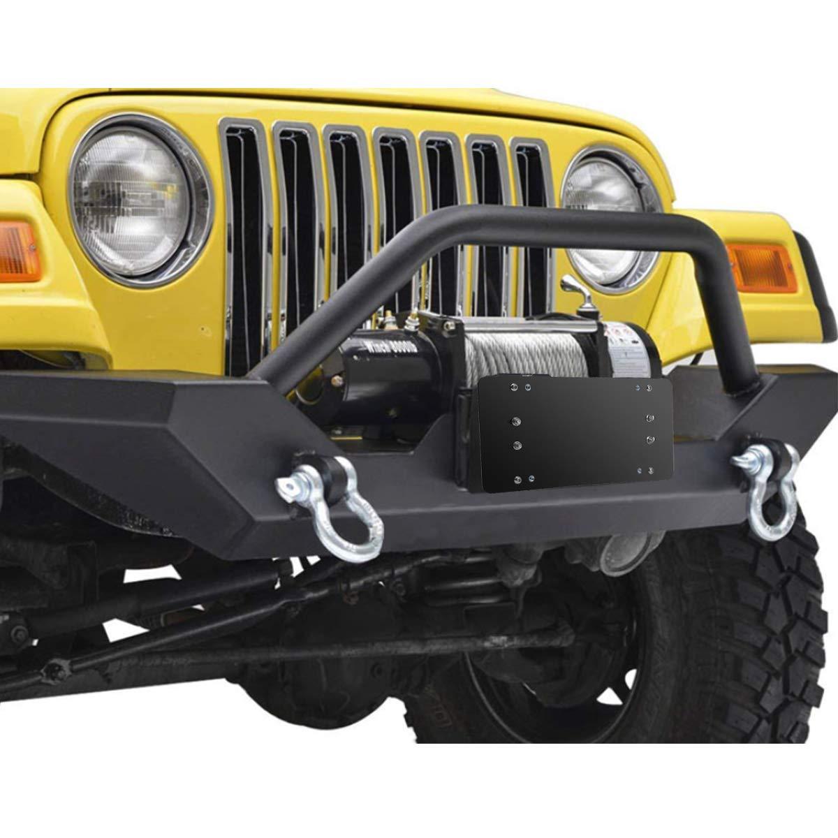 Flip Up License Plate Mount Winch Roller Fairlead Mounting Bracket Holder Black Stainless Steel