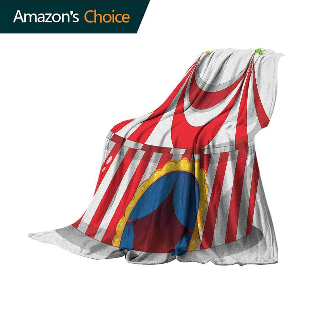 Circus Blanket as Bedspread,Illustration of Retro Circus with Flag Nostalgic Fun Festival Carnival Venue Artistic 300GSM,Super Soft and Warm,Durable Blanket,50'' Wx70 L Red White