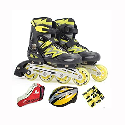 ZMCOV Inline Skate Roller Skate Blades with Adjustable Size and Flashing Light Up Wheel for Kids Boys Girls, Yellow, 30~33 : Sports & Outdoors