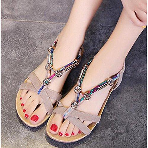 76c9b99c Barato ZHZNVX Zapatos de mujer PU confort de verano sandalias planas de  talón cerrado Toe Casual