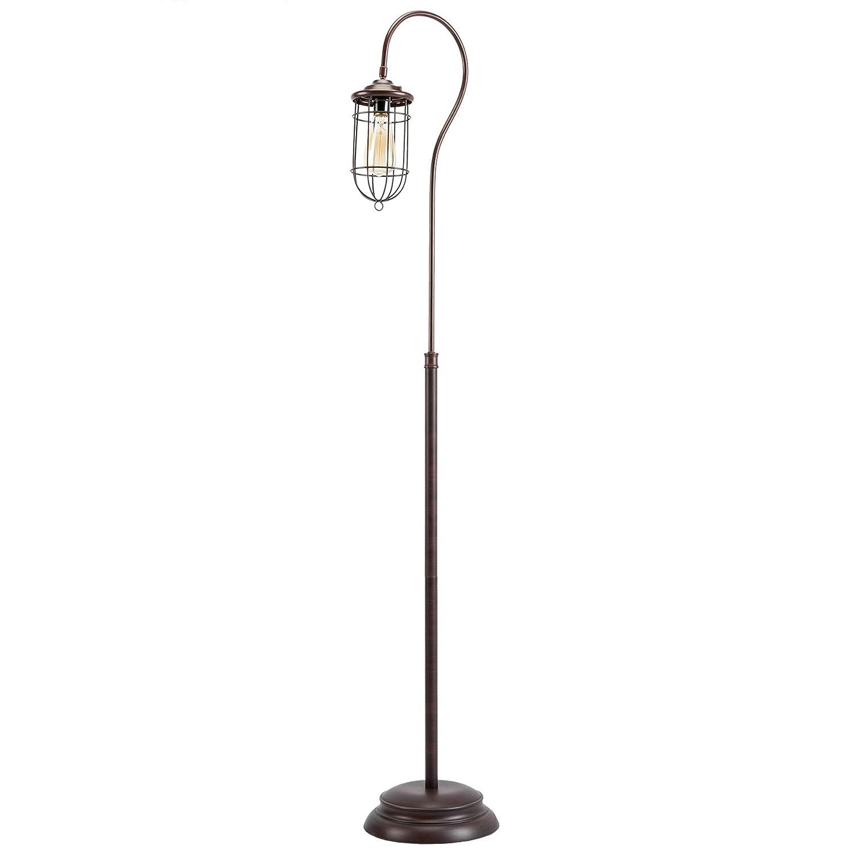 CO-Z Industrial Floor Lamp with Adjustable Cage Shade, 62'' Rustic Floor Lamp Brushed in Reddish Bronze Finish, Lantern Floor Lamp for Living Room, Bedroom, Office, cETL Certificate.