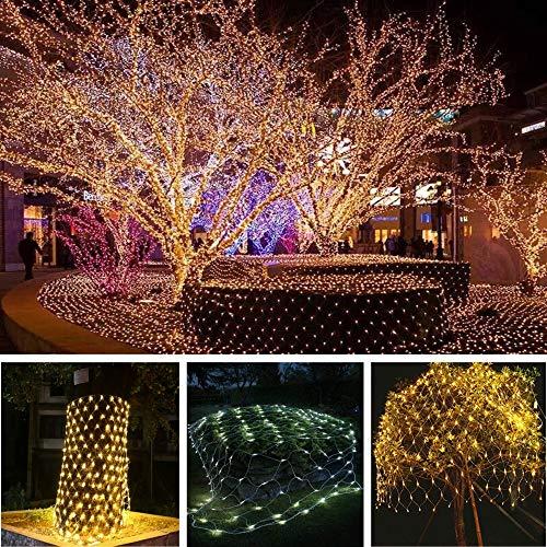 LED Net Lights Fairy String Lights Outdoor Party Christmas Xmas Wedding Home Garden Decorations Net Mesh Tree-Wrap Light 8 Modes for Flashing 3m x 2m 200 LED Lights(Warm White) (LED Net Light) ()