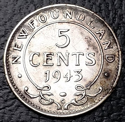 Unbranded 1943C NEWFOUNDLAND 92.5% SILVER NICKEL 5 CENTSGREAT CONDITION