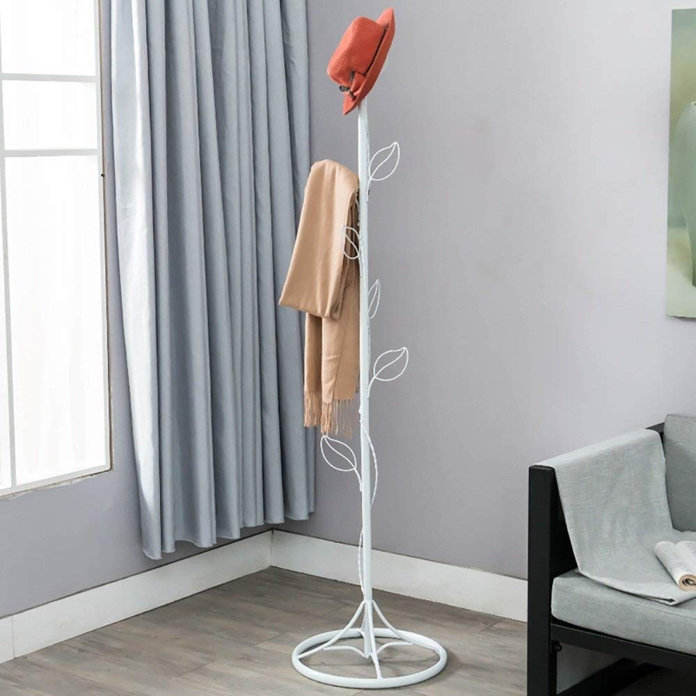 White 170cm Coat Rack European Simple Creative Floorstanding Leaves Hangers Iron Clothes Rack Wall Hanger White Bedroom Haiming (color   Brown, Size   170cm)