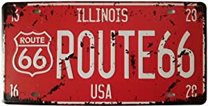 ERLOOD ILLINOTS Route 66 Retro Vintage Auto License Plate Tin Sign Embossed Tag Size Home Pub Bar Decor 6 X 12