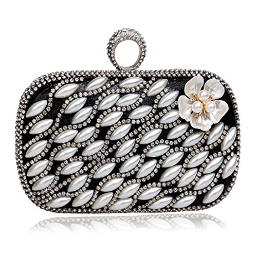 Black Bags Banquets Evening JESSIEKERVIN Luxury Ladies Pearls Handbag Clutches Flowers XqxpwC0zR