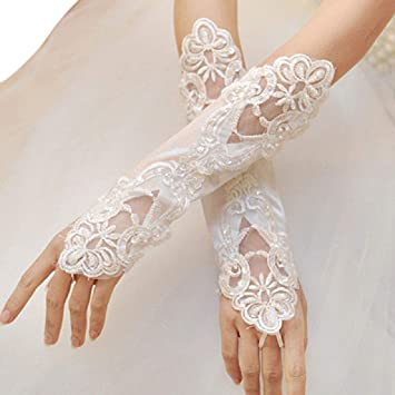 1 Pair Bride Long Lace Arm Elbow Gloves Fingerless Women Wedding Gloves