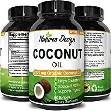 #1 Pure & Organic Coconut Oil - Cold Pressed - Highest Grade and Quality Capsules (Best Supplements) - Certified Full Strength - 100% Natural - 2000 mg per Serving - 60 Capsules by Natures Design