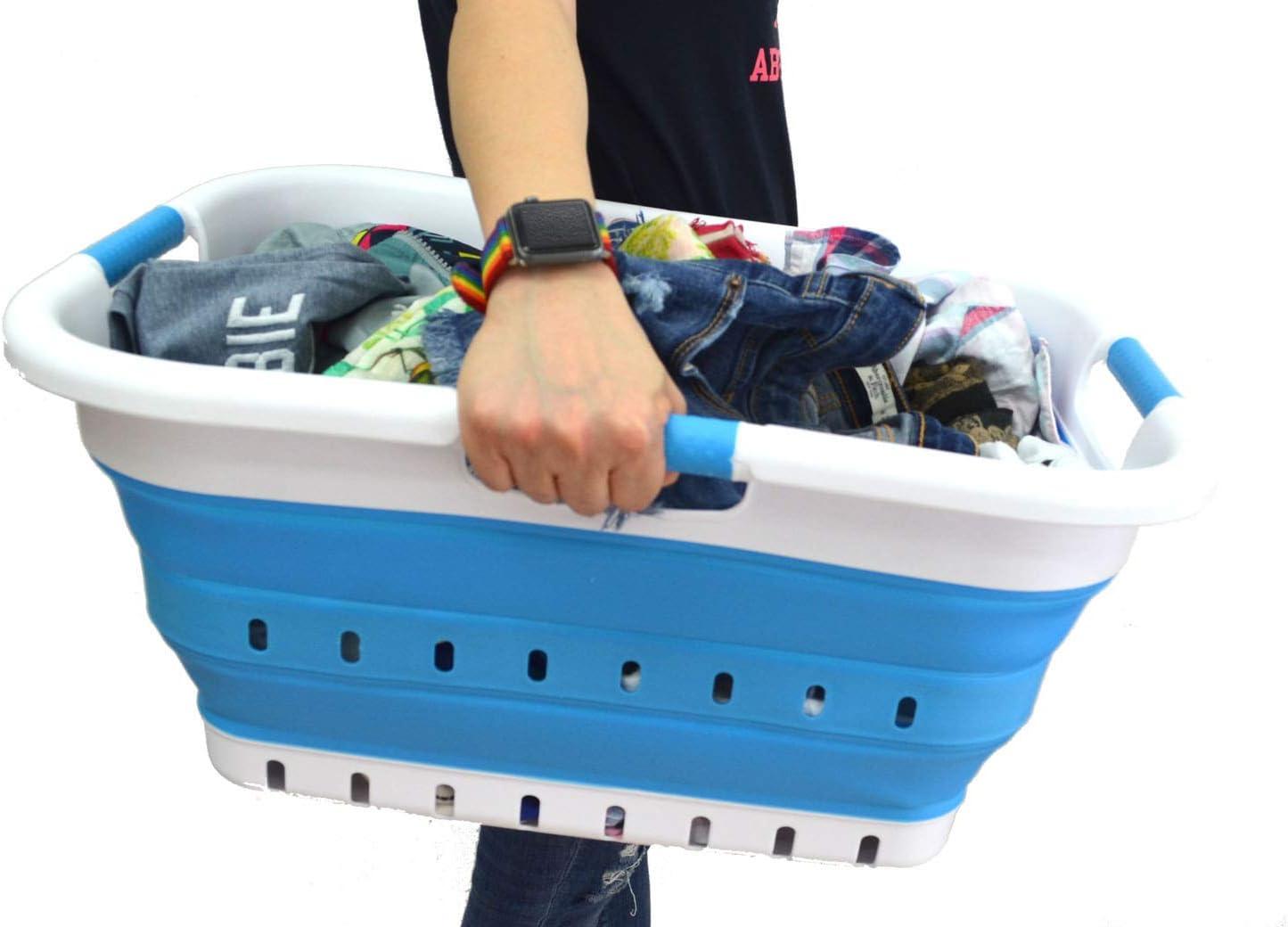 Space Saving Hamper//Basket Rectangular, Lt. Purple SAMMART Collapsible Plastic Laundry Basket Portable Washing Tub Foldable Pop Up Storage Container//Organizer