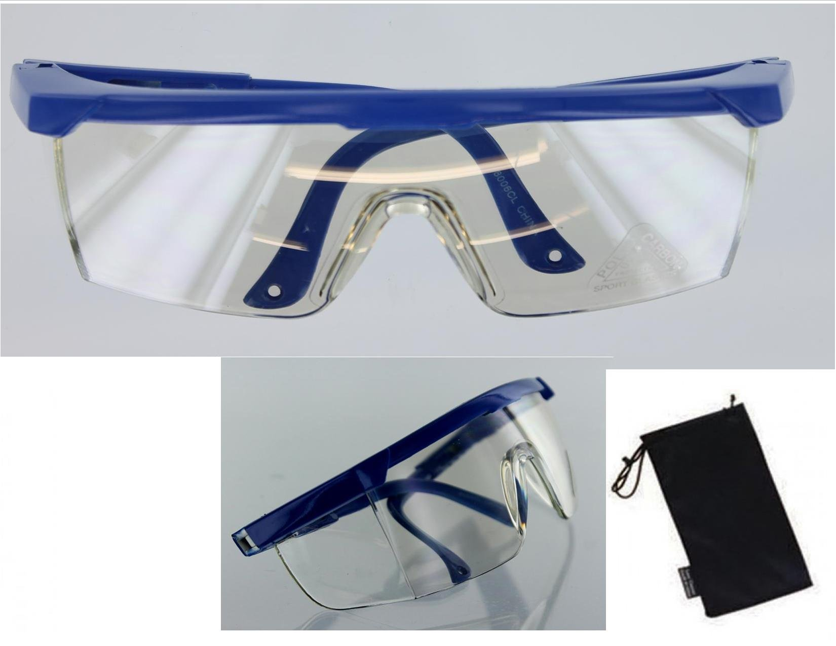 EDOG SHOOTING HUNTING SAFETY GLASSES | BLUE FRAME | CLEAR PLASTIC LENS | SOFT FABRIC GLASS CASE INCLUDED | WILL SLIP OVER EXISTING GLASSES IN MANY CASES