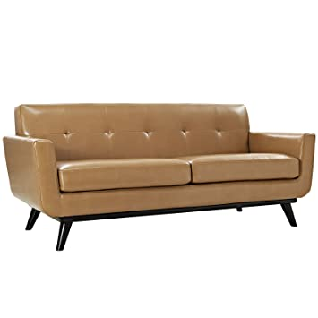 Modway Engage Mid Century Modern Upholstered Leather Loveseat In Tan