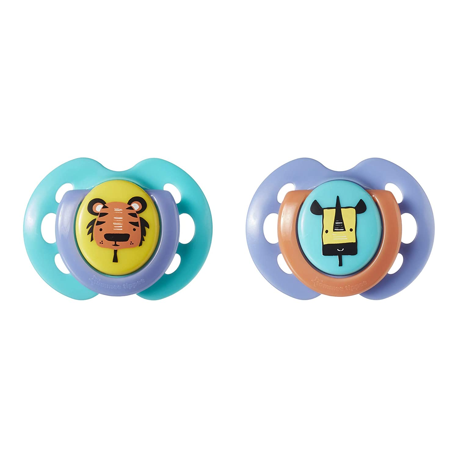 Tommee Tippee Closer to Nature Fun Style Baby Pacifier, BPA-Free, 0-6 Months, 2 Count (Colors May Vary)