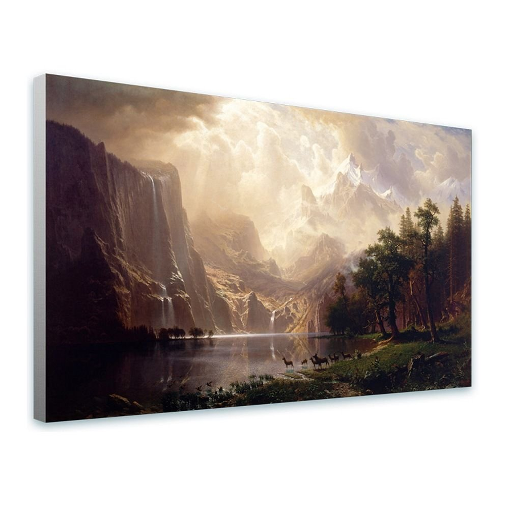 Alonline Art - Among The Sierra Nevada Mountains by Albert Bierstadt | framed stretched canvas on a ready to hang frame - 100% cotton - gallery wrapped | 43''x26'' - 110x66cm | Wall art home decor HD by Alonline Art